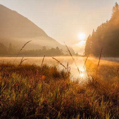 Weitsee bei Reit im Winkl im Herbst in der Morgen Sonne, Chiemgau, Bayern, Deutschland